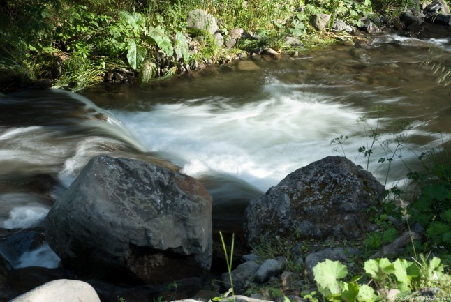 A brook water with boulders on the edge