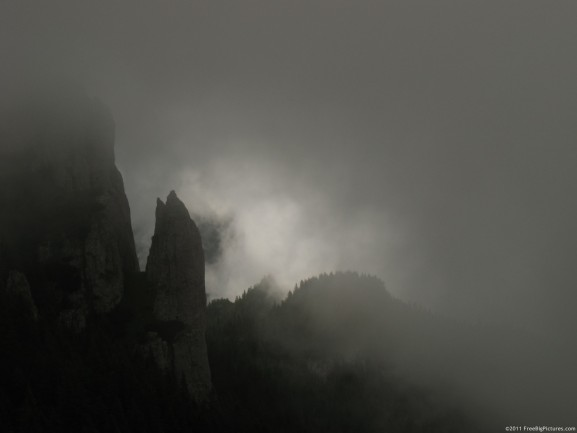 A gray day between clouds, on Ceahlau Massif, a legendary place from Romania