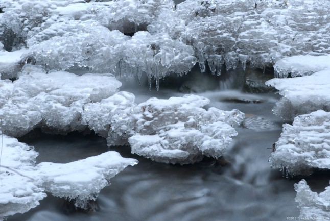 Ice and water on the same time on a small river in winter. The ice is covered with a thin layer of snow. The water is flowing in hurry.