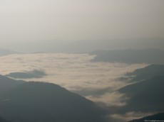 Sea of clouds covering the valleys