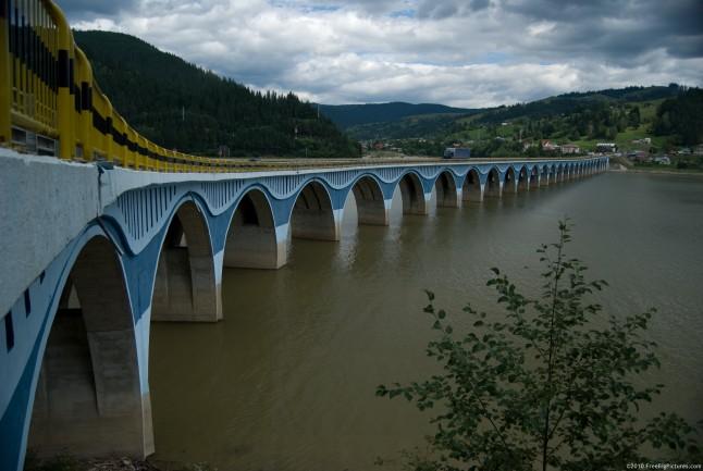 A bridge built over the Bicaz lake